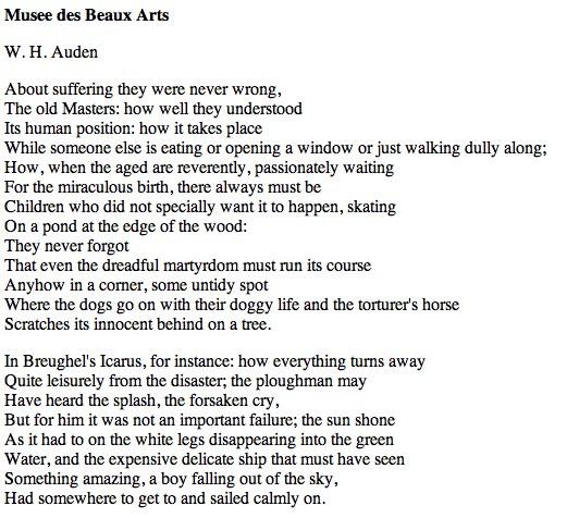 Auden-Mus%C3%A9e-des-Beaux-Arts - Musée des Beaux Arts - Poems and Poets